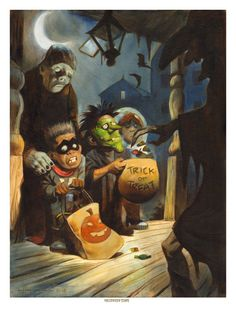 HALLOWEEN SCARE Spooky Haunted Halloween Trick or Treat Witch Print Mike Von Hoffman via Etsy