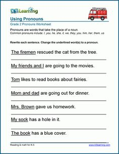 Using common pronouns worksheets | K5 Learning