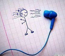 doodle girl blue ear bud hairdryer