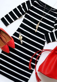 Black Striped Print Elbow Sleeve Fashion Slim Mini Dress - Mini Dresses - Dresses#Black #Red #White #Outfit #Ideas