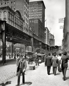 "Chicago, Illinois, circa 1907. ""Wabash Avenue and elevated tracks,"" by Hans Behm, Detroit Publishing Company."