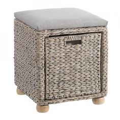 Taburet dreptunghiular gri din lemn si poliester 40x42 cm Carmen Ixia Fibres, Outdoor Furniture, Outdoor Decor, Ottoman, Home Decor, Gray, Storage Trunk, Trunks And Chests, Ottomans