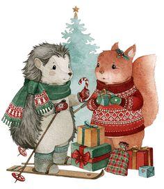 "Photo from album ""? Illustration Inspiration, Winter Illustration, Christmas Illustration, Cute Illustration, Cozy Christmas, Vintage Christmas, Xmas, Vintage Paper Dolls, Winter Art"