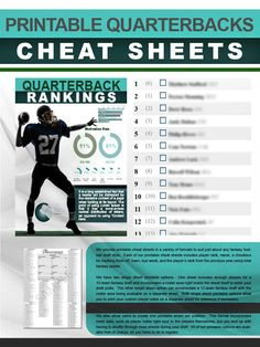 A printable, single-page quarterbacks cheat sheet for your fantasy football draft