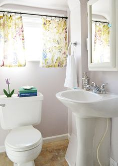 Full Bathroom Makeover For $170 (new floor, painted walls, curtains, etc)