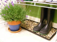 Glue river rocks using high temp glue gun or strong epoxy inside a boot try for an attractive spot to dry rain boots!