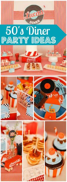 Love this diner party with hoola hoops and bubble gum! See more party id. - Lilly is Love Diner Party, Fifties Party, Retro Party, 50s Theme Parties, 50s Party Decorations, 1950s Theme Party, Festa Pin Up, Grease Party, Sock Hop Party