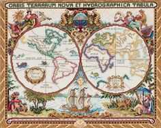 Janlynn Corporation Olde World Map Cross Stitch Kit. Discover more kits by Janlynn at LoveCrafts. From knitting & crochet yarn and patterns to embroidery & cross stitch supplies! Shop all the craft materials you need to start your next project. Cross Stitch Samplers, Counted Cross Stitch Kits, Cross Stitch Embroidery, Cross Stitches, Diy Embroidery, Old World Maps, Vintage World Maps, Cross Stitch Designs, Cross Stitch Patterns