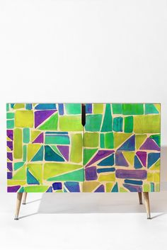 Amy Sia Watercolour Shapes Lemon Credenza   DENY Designs Home Accessories