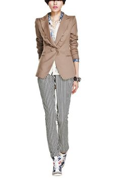 This suit coat crafted in cotton, polyester and spandex, featuring notched lapels, buttons embellished to front, jet pocket to each side, in medium length cut.$114