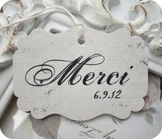 Personalized French Merci Favor Tags - Vintage Inspired - Cottage Chic - Set of 50 - Weddings, Escort Cards, Cupcake Toppers, Showers