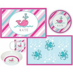 Preppy Whale Kids Dish Sets! - FOR MONOGRAM INITIALS: please enter letters in exact order to APPEAR.