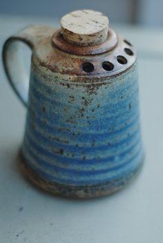 (unknown artisan?)   |  Stoneware shaker with cork and blue matt glaze.