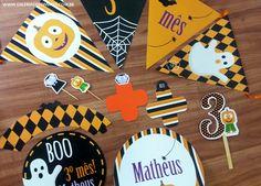 Kit mesversário. Tema:halloween Kit festa personalizada para comemorar o mesversário do seu bebê. Itens prontos para personalizar sua festa.