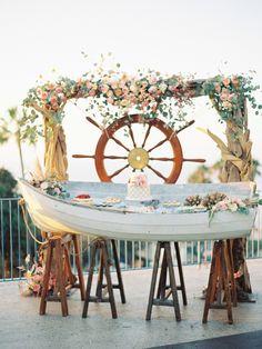 20 Reasons to Have a Nautical Wedding - aka this rustic beachy dessert bar - Inspired By This Wedding Decor Canoe Wedding, Pirate Wedding, Beach Wedding Reception, Seaside Wedding, Wedding Souvenir, Nantucket Wedding, Destination Wedding, Nautical Wedding Inspiration, Nautical Wedding Theme