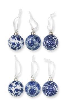 Blue and white ceramic Christmas ornaments