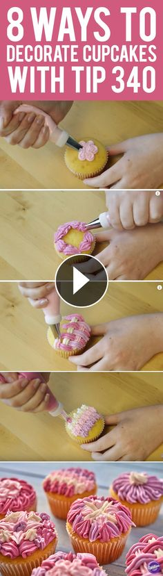 Learn eight ways to decorate cupcakes using the Wilton decorating tip 340. Often used to pipe ruffles and zig-zags, tip 340 is great for decorating borders, flowers, shells and more on cakes and cupcakes.