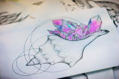 Tattoo art | Shell with crystals by Askaraya