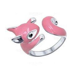 Разъемное серебряное кольцо с эмалью и фианитами в виде белочки