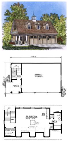 Garage Apartment Plan 76029 | Total Living Area: 913 Sq. Ft., 1 Bedroom, 1  Bathroom And 2 Half Baths. Garage Area: 1508 Sq. Ft. The Apartment Officu2026