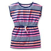 Fun stripes make this tunic a bright idea for spring.  Elastic waist and slub jersey make it comfy to wear.