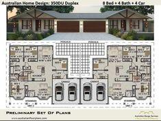 Duplex House Design - 8 Bedroom 4 Bathrooms 4 Car - Construction Plans For Sale Plan Duplex, Duplex Floor Plans, House Floor Plans, Building A Porch, Building A House, Morton Building Homes, Small Cottage Homes, Cottage House, Small Homes