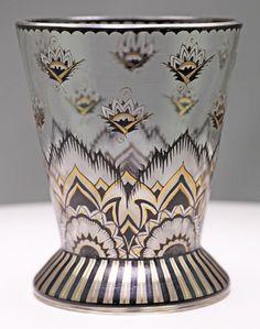 Beaker shaped glass vase with enamelled designs, poss. by Haida or Wiener Werkstatte, c. 1920