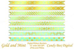 Gold Foil & Mint Ribbon Borders by Candy Box Digital on Creative Market. Great for digital scrapbooks, journals and website design.