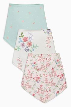 Buy Cream/Pink/Green Floral Dribble Bibs Three Pack from Next Netherlands