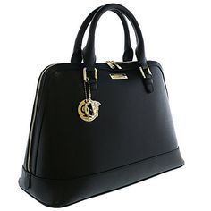 30f78a8cfc Amazon.com  Versace Collections Women Leather Top Handle Handbag Satchel  Black  Shoes