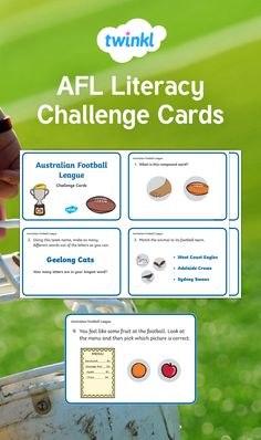 A fun set of challenge activities that use a variety of Literacy skills, while further exploring Australian Rules football. Could be used as a whole class challenge activity, small group work, early finishers or as part of a rotation. West Coast Eagles, Australian Football League, Word Challenge, Compound Words, Early Finishers, Different Words, Literacy Skills, Group Work, Word Out