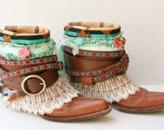 Gypsy Boots Upcycled Vintage Boots Boho by FlowersInMyHairShop