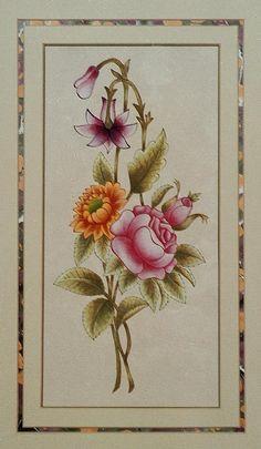 tezhip Indian Prints, Turkish Art, Different Flowers, Art And Illustration, Silk Painting, Textile Prints, Islamic Art, Flower Art, Watercolor Art