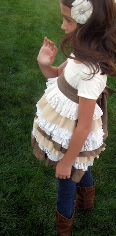 How to make a cute little girl ruffled shirt... Maybe use part of this tutorial/pattern. I see lace with other fabric ;)