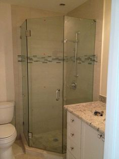 small bathrooms with neo angle showers | Frameless Shower Door - Neo Angle Layout 23