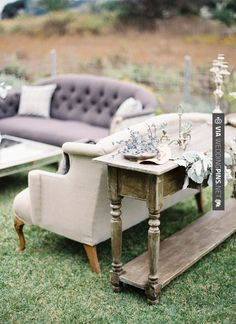 So neat! - vintage lounge furniture | Photo by Jose Villa | 100 Layer Cake | CHECK OUT MORE GREAT PURPLE WEDDING IDEAS AT WEDDINGPINS.NET | #weddings #wedding #purplewedding #purpleweddingphotos #events #forweddings #iloveweddings #purple #romance #vintage #planners #ilovepurple #ceremonyphotos #weddingphotos #weddingpictures