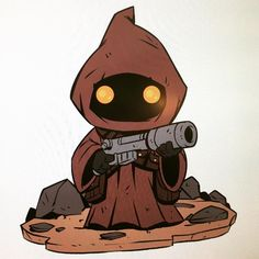 I saw these got announced. I did a series of 6 New Star Wars pins that will be available at NYCC. Here is the Jawa design.  I believe you can also order them from conventionexclusive.com So even tho I won't be at NYCC my art will be in a small capacity:) #Starwarspins #chibi #jawa #dereklaufman
