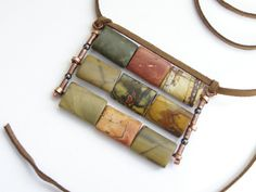 Jasper Picasso on suede casual necklace handmade Israel by LenaMer, $28.00