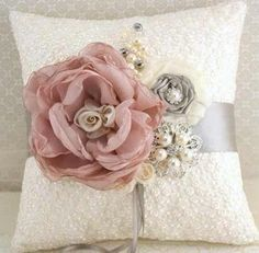 Ring Bearer Pillow Bridal Pillow Wedding Pillow in by SolBijou Ring Bearer Pillows, Ring Pillows, Wedding Pillows, Ring Pillow Wedding, Boite Explosive, How To Make Pillows, Bridal Accessories, Fabric Flowers, Just In Case