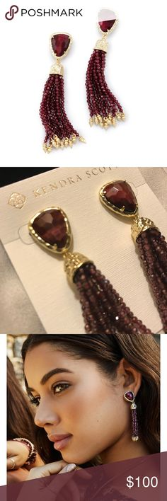 "Kendra Scott Blossom Earrings Bordeaux Tiger's Eye These earrings are brand new and have never been worn. They are stunning!! They include a KS Slip bag and will come in box & wrapped. Hammered stone faceting and strings of genuine stone beads create a show-stopping fringe with the Blossom Statement Tassel Earrings in Bordeaux Tiger's Eye.  • 14K Gold Plated Over Brass • Size: 2.833""L x 0.56""W on post • Material: bordeaux tiger's eye* Kendra Scott Jewelry Earrings"