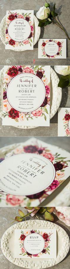 cheap burgundy floral boho vintage wedding invitations