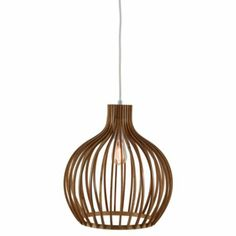 Pendant ceiling light with round wood shade