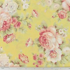 Roses on Yellow Cotton Calico Fabric