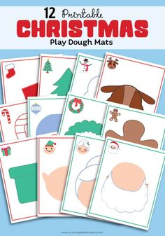 12 free printable Christmas Holiday play dough mats - perfect for toddler & preschool sensory play! Just print, laminate and play! I LOVE how creative these shadows are to fill in your favorite with your favorite Play-Doh colors! Playdough Activities, Holiday Activities, Activities For Kids, Crafts For Kids, Therapy Activities, Free Christmas Printables, Christmas Themes, Christmas Holidays, Christmas Crafts