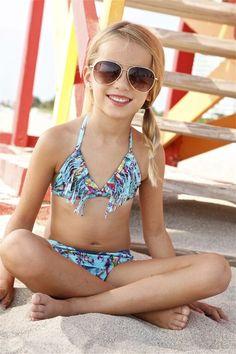 Designer Kids Fringe Bikini Set - The Peixoto Mai bikini set features a colorful reef print and designer fringe. The use of this designer print on a fringe top makes it an extra fun and fabulous bikini for a stylish girl. Your little fashionista will want to be rocking this bikini 24/7.