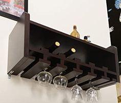 Amazon.com : wall mounted wine rack and glass holder Wine Glass Holder, Wine Bottle Holders, Beer Bottle, Glass Shelves, Wall Shelves, Floating Shelves, Pallet Wine, Walnut Furniture, Furniture Sale