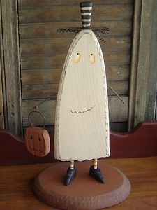 ~!~whimsical Wooden Ghost~wire Arms~pumpkin~primitive Halloween Decor~!~