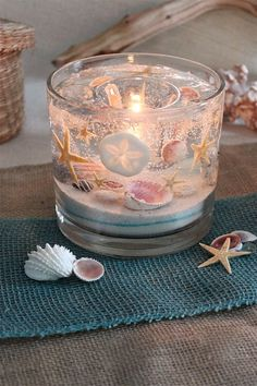 Seashell Candle Holder, Reusable (Bowl), Wedding & Bridal Party Gifts, Custom Beach Candles, Just ad Seashell Candles, Gel Candles, Seashell Crafts, Beach Crafts, Beeswax Candles, Beach Themed Crafts, Floating Candles, Candle Wax, Custom Candles