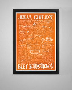 OMG! MUST HAVE! Hand-Drawn Recipe of Julia Child's Beef Bourguignon Art Print in Le Creuset Colors