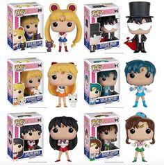 Includes: Sailor Moon & Luna , Sailor Mercury, Sailor Mars, Sailor Jupiter, Sailor Venus & Artemis and Tuxedo Pop! Animation 3 tall Vinyl Imported By Funko Sailor Moon S, Sailor Jupiter, Sailor Venus, Sailor Mars, Sailor Moon Merchandise, Funko Pop Anime, Funko Pop Dolls, Chibi, Pop Toys